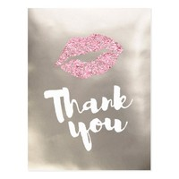 thank you pink lips on silver postcard