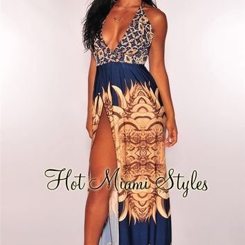 Navy Blue Aztec Halter Maxi Dress