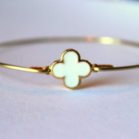 Gold White Clover Quatrefoil Bangle Bracelet Gold Charm - Stackable Bangle Bracelet - Christmas Gift - Bridesmaid Gift - Gift under 15