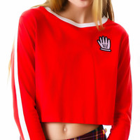 Lazy Oaf Seeing Red Long Sleeve Top Red/White One