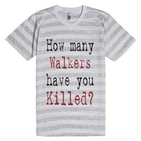 How Many Walkers-Unisex Ash/White Stripe T-Shirt