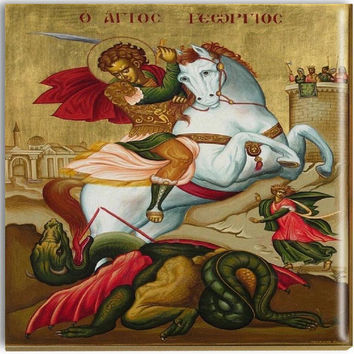 St George Icon Orthodox Ceramic Icon St George Sublimated Religious Home Art Dragon Slayer