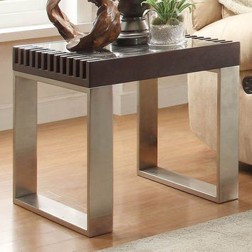 He-3511Dc-04 Raeburn Collection End Table, Chrome, Glass, Espresso