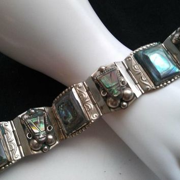 ON SALE Sterling Silver Wide Abalone Shell Bracelet - 1950 s Hig 7b501106b7
