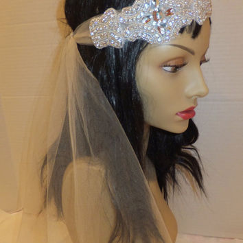 Great Gatsby Bridal Headpiece, Bridal Headband, Tulle Rhinestone Headband, CAROLINE, Rhinestone Headband, Tulle Headband, Bridal Headpiece