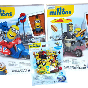 Lot of 3 Minions Scooter Escape Flying Hot Dogs Series 3 Mystery Pack Mega Bloks