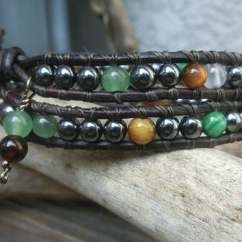 Autumn Memory Handmade Japanese Powerstone Leather Wrap Layer Unisex Bracelet by Off on a Whim - made in Japan