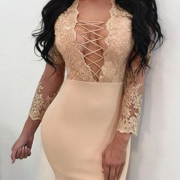 Lace Up Hollow Out Transparent Embroidery Short Bodycon Dress