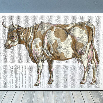 Animal print Cow poster Farm animal art Dictionary print RTA693