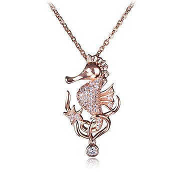 Pink Gold Plated Sterling Silver Pave CZ Seahorse Pendant(Chain Sold Separately)