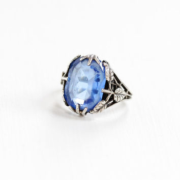 Vintage Art Deco Sterling Silver Simulated Sapphire Ring - Size 6 Vintage 1930s Leaf Motif Blue Emerald Cut Glass Stone Statement Jewelry