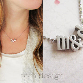 LOVE Tiny Silver Lowercase Initial & Ampersand Necklace - Silver Letter Custom Bridal Gift Personalized Bridesmaid Wedding Monogram