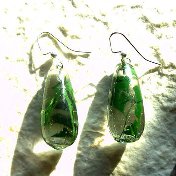 Real Pressed Maidenhair Fern Resin Earrings