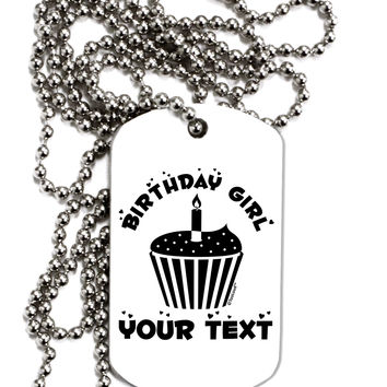 Personalized Birthday Girl Cupcake -Customizable- Name Adult Dog Tag Chain Necklace
