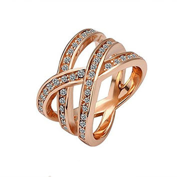 "Arlumi Rose Gold-Plated ""X"" Criss-Cross pave Swarovski Elements Clear Zirconia Twist Ring, Size 8"""