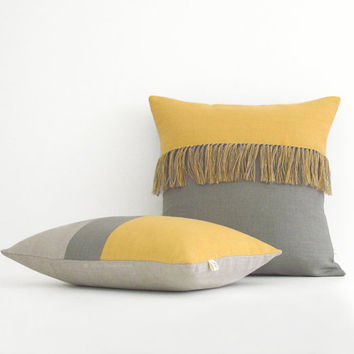 Fringe Tassel & Colorblock Pillow Cover Set in Stone Grey + Yellow by JillianReneDecor - Squash - Saffron - Fall 2015 - Linen Pillows