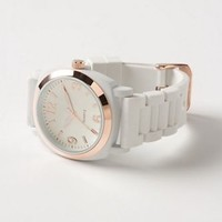 ANTHROPOLOGIE VISCID WATCH RUBBER JELLY BAND SKY WHITE NWT BOYFRIEND rosegold