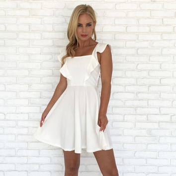 Ruffle Me Up Skater Dress in White