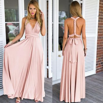 Sexy Long Dress Bridesmaid Formal Multi Way Wrap Convertible Infinity Maxi Dress Pink Hollow Out Party Bandage Vestidos