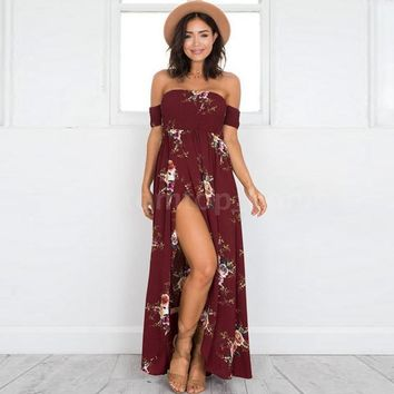 Women's Boho Floral Off The Shoulder Split Chiffon Summer Beach Party Maxi Dress