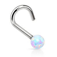 BodyJ4You® Nose Ring Screw 20G White 20 Gauge Created-Opal Body Jewelry
