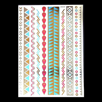 Metallic Flash Color Chains Tribal Temporary Tattoos