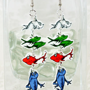 One Fish, Two Fish, Red Fish, Blue Fish Earrings - Dr. Seuss Cat In The Hat (SD) (FS)