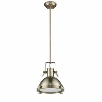"IRONCLAD Industrial-style 1 Light Antique Brass Ceiling Mini Pendant 13"" Shade"