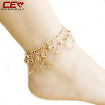 Bell Chain Women's Anklets Bracelet Gold Plated Chain For Ankle