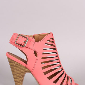 Delicious Strappy Caged Kitten Chunky Heel