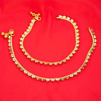 Pakistani Indian Bridal Ethnic Gold Plated Payal Anklet Pair Red and Green Enamel with Soft Bells