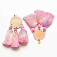 FESTIVE 7/ Dyed cotton tassel & leather earrings - Ready to Ship -OOAK