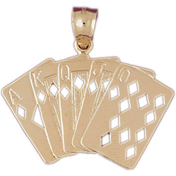 14K GOLD GAMBLING CHARM - PLAYING CARDS #5436