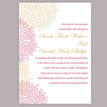 DIY Wedding Invitation Template Editable Word File Instant Download Printable Floral Invitation Pink Wedding Invitation Gold Invitations