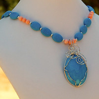 Turquoise & Sterling Silver Pendant with Turquoise and Angel Skin Coral Necklace