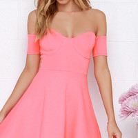 Tea Cup Coral Pink Off-the-Shoulder Dress