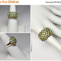 ON SALE Vintage SETA 925 Silver Gemstone Cocktail Ring, Yellow Tourmaline, Blue Spinel, Pave, Domed, Statement, Size 6 1/4,80's Bling! #B058