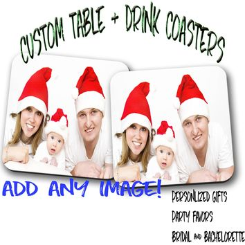 Custom- ANY PHOTO- Pair of Coasters, Home Decor, Kitchen Sets, Table Designs, 2 Coasters