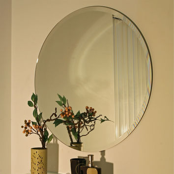 24-Inch Circle Bathroom Wall Vanity Mirror with Beveled Edge