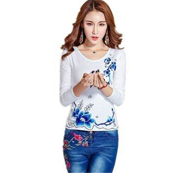 Spring Autumn Casual Women T Shirt 5XL Plus Size Slim Embroidery Pullover T-Shirt Clothing Blusa Long Sleeve Harajuku Tops Tee