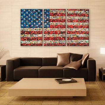 Abstract Art American Flag Canvas Print 3 Panels Print Art Wall Deco Fine Art Photography Repro Print for Home and Office Wall Decoration