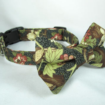 Designer Dog Collar and Bow tie - Flowers and Berries  - Spring dog collar, blue dog collar, cute dog collar