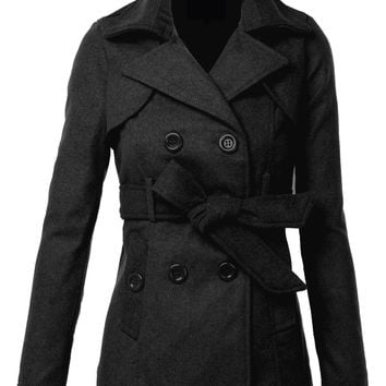 LE3NO Womens Classic Double Breasted Belted Tie Peacoat Jacket