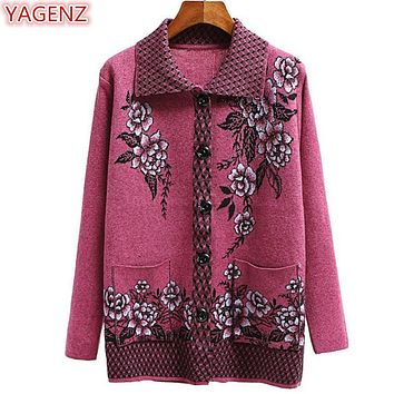 YAGENZ Fashion Middle-aged Mother Sweater Coat Spring Autumn Large Size Women Clothing Flowers Knitted Sweater Cardigan Coat 573
