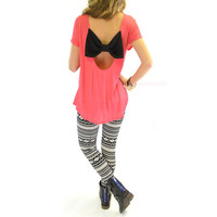 Graceville Strawberry Pink Open Bow Back Top