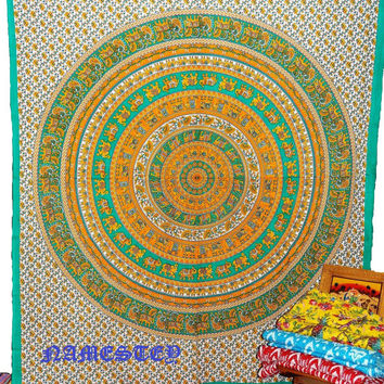 Elephant Mandala Hippie Tapetsry,Indian mandala Tapestry Throw Bed spread,Dorm Tapestry,Bohemian Tapestry,elephant wall Art ,Boho tapestry