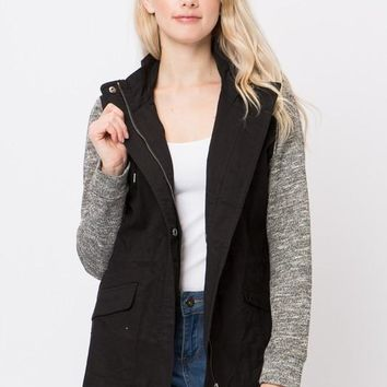 Hood Utility Jacket with knitted sleeves