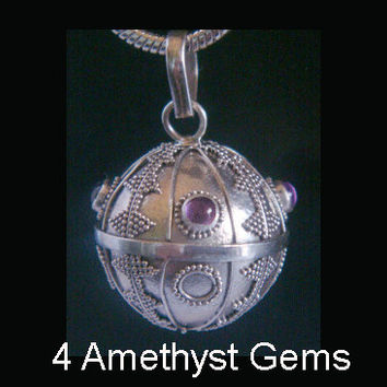 Stunning 925 Sterling Silver Harmony Ball with Four (4) Amethyst Gemstones with Traditional Balinese Inscriptions on the solid 925 Ball 073