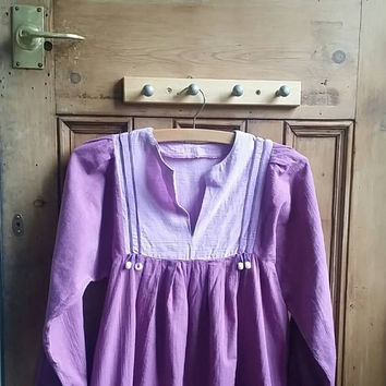 70s chic boho dress festival clothing purples folk dresses hippie clothes beads smock maternity small vintage floaty Dolly Topsy Etsy UK