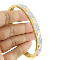 Screw Design Bangle Womens Bracelet Gold Finish Simulated Diamonds
